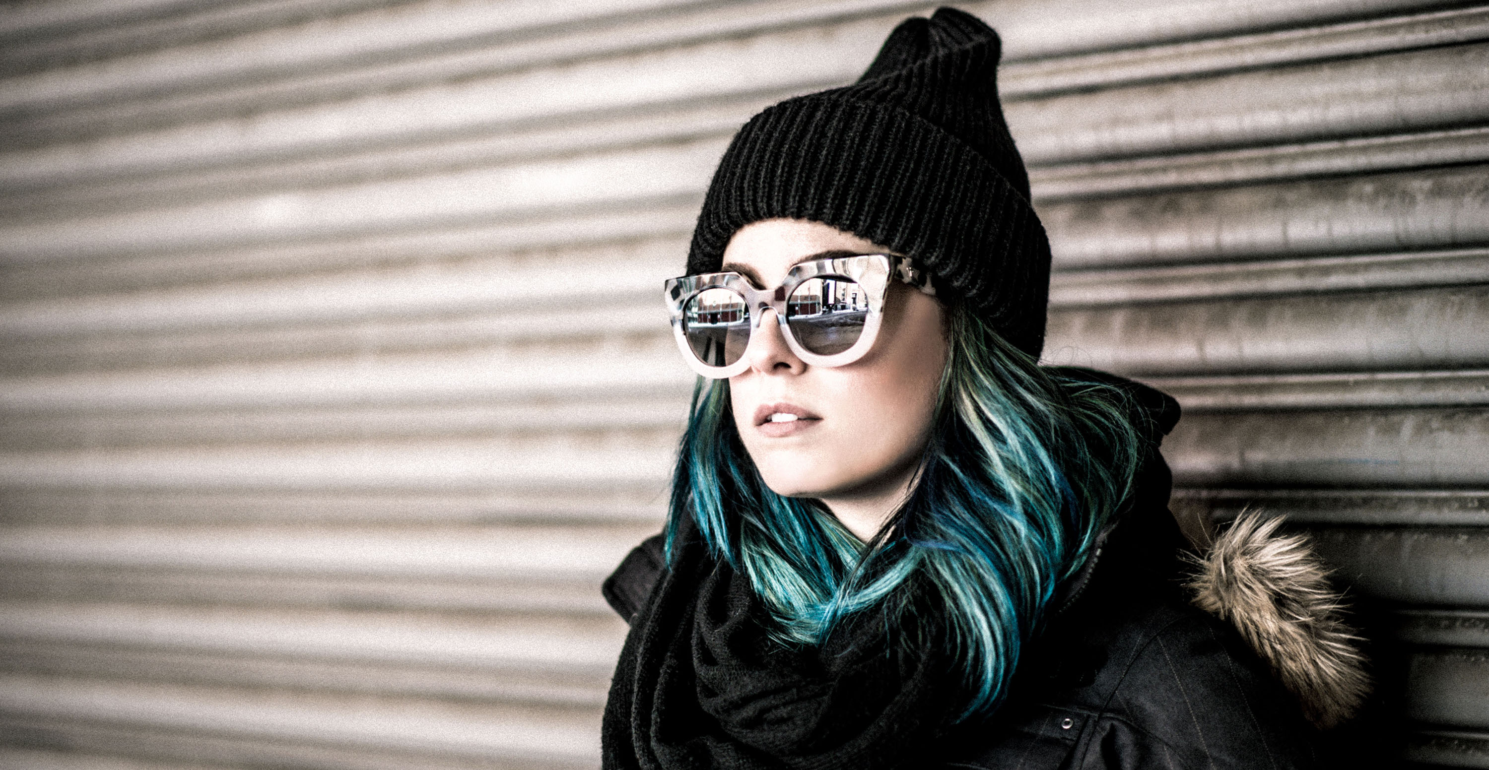 girl, lady, hat, blue, hair, sunglasses, cold, coat, garage door