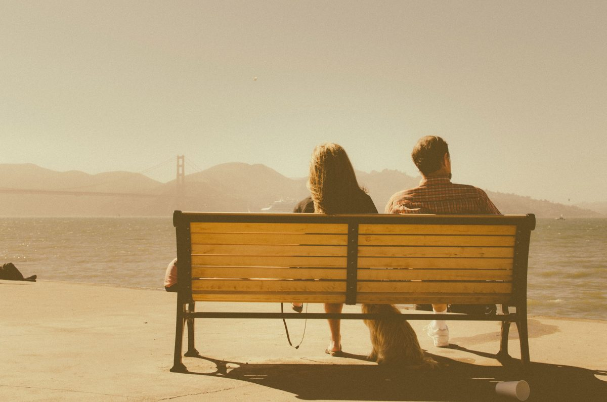 two, people, bench, sunset
