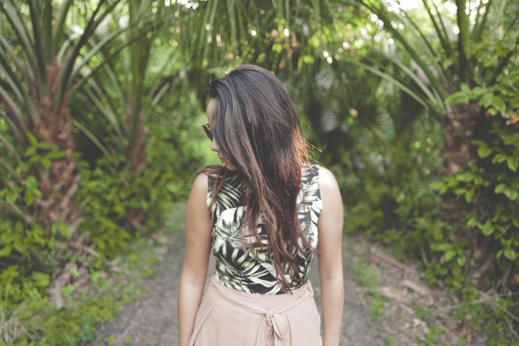 girl, sunglasses, lady, jungle, pathway, looking sideways