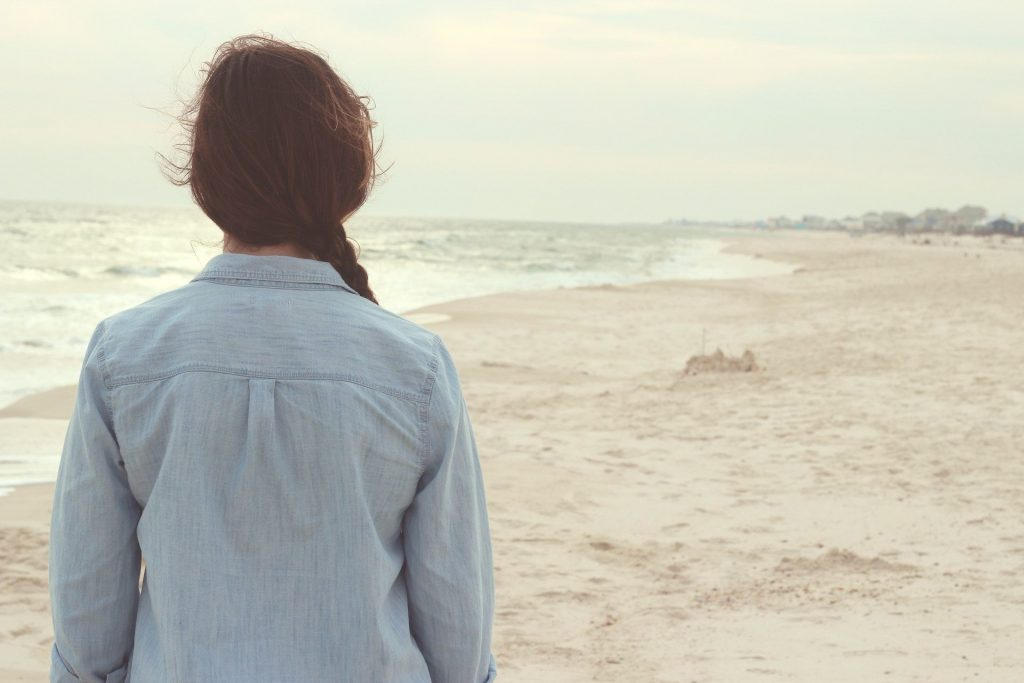 girl, female, lady, beach, view, foggy, blue shirt