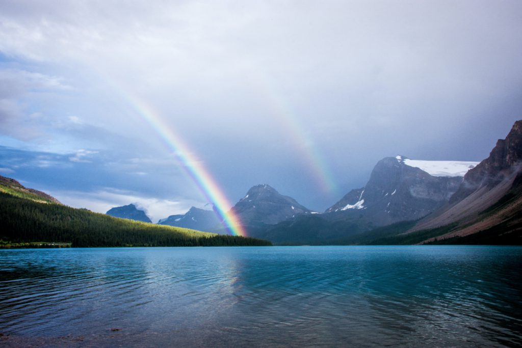 rainbow, lake, clouds, mountains